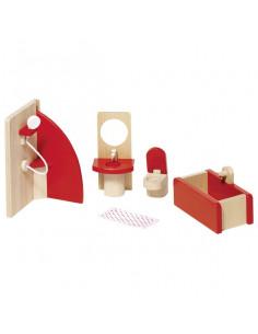Goki Houten poppenhuis meubel badkamer basic 5 delig