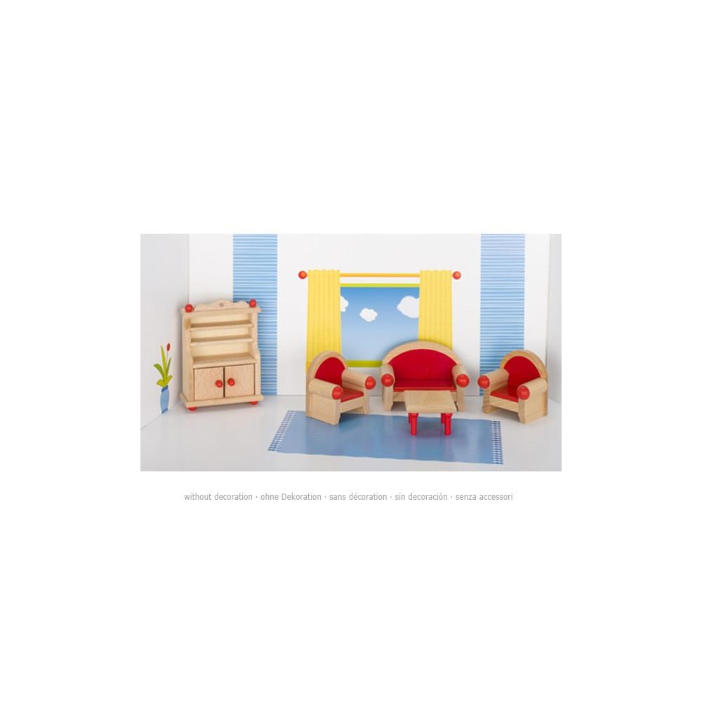 Goki Houten poppenhuis meubel woonkamer 5 delig online kopen?   SpeelgoedFamilie nl