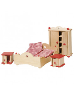 Goki Houten poppenhuis meubel slaapkamer 4 delig
