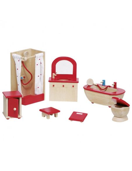 Goki Houten poppenhuis meubel badkamer 7 delig