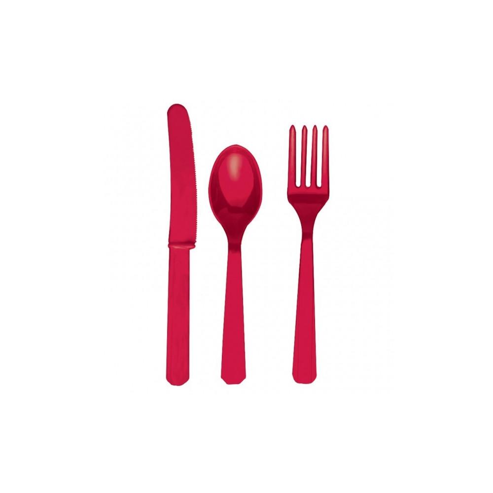 Rood Plastic Bestek 24-delig