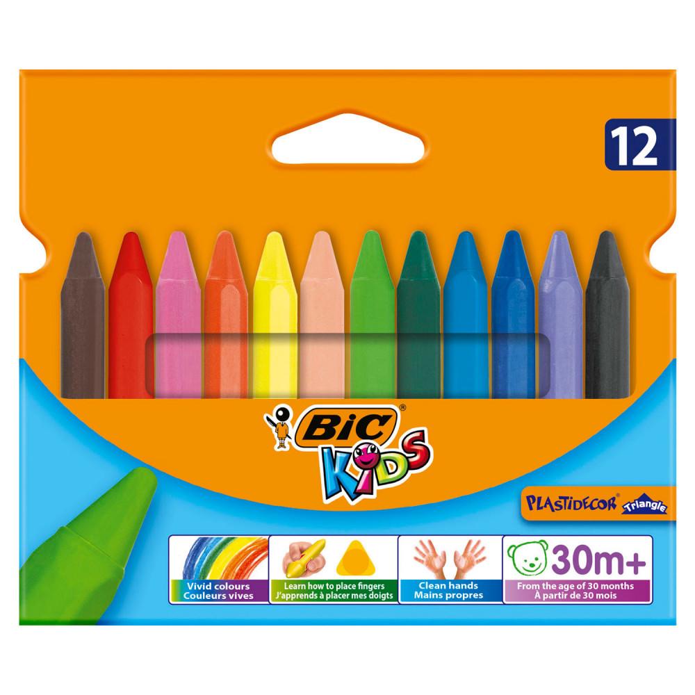 BIC Kids Plastidecor Triangle Kleurkrijt, 12st.