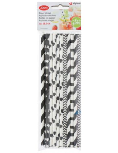 Papieren Rietjes 20 Stuks Zwart/wit