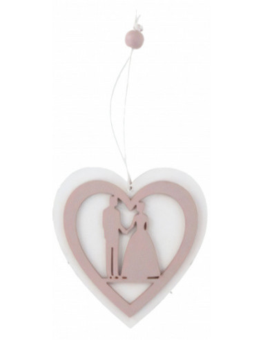 Hanger Hand In Hand 10 Cm Hout Wit/roze