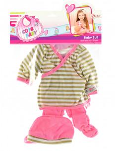 Kleding Voor Babypop 20-30cm in zak Bruine Streep
