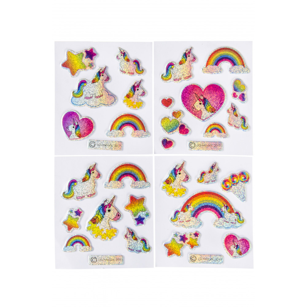 Glitterstickers Eenhoorn 7 X 11,5 Cm