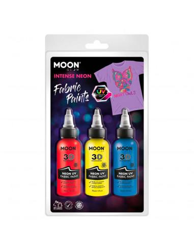 Textielverf Neon 3x30ml - Rood, Geel,...