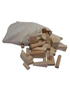 Grote Houten blokken naturel 50 in zak