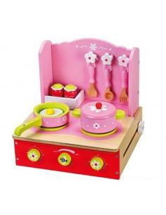 Inklapbaar roze tafelkeukentje