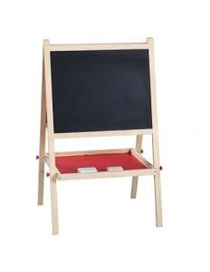Schoolbord met krijtjes en wisser