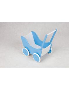 Poppenwagen hout Licht Blauw