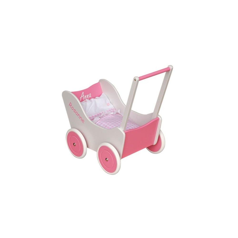Poppenwagen van hout (roze-wit)