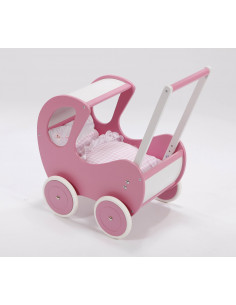 Poppenwagen hout de luxe in roze met roze wielen