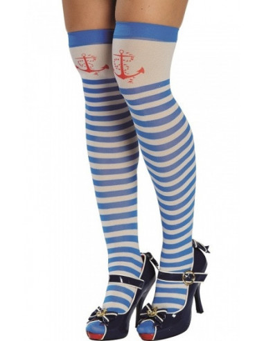 Panty Matroos Dames Blauw/wit One Size