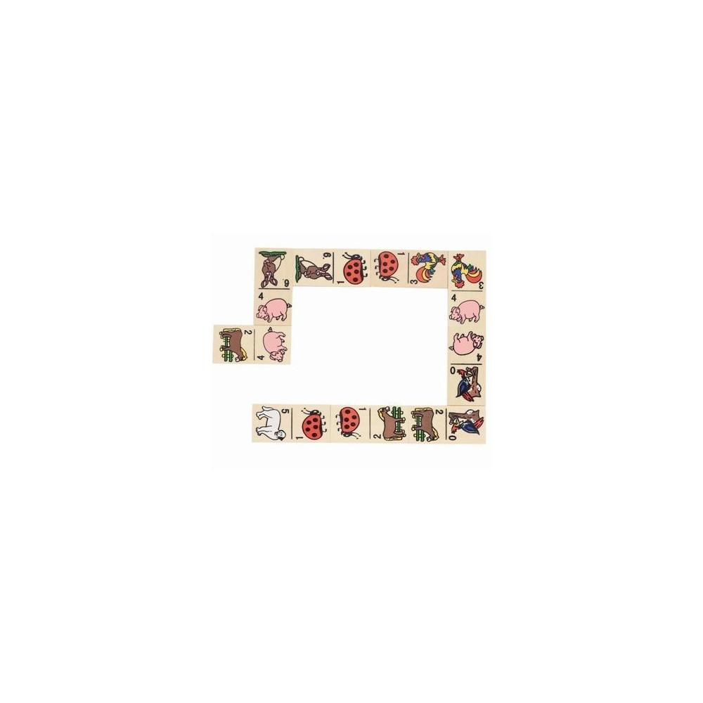 Goki Houten Domino Dieren 28-delige set in houten doos