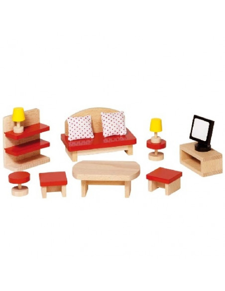 Goki Houten Poppenhuis meubel woonkamer - 13 delig
