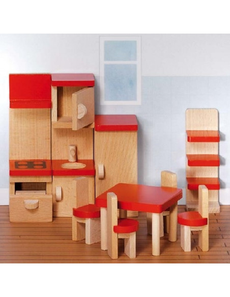 Goki Houten poppenhuis meubel keuken - 9 delig