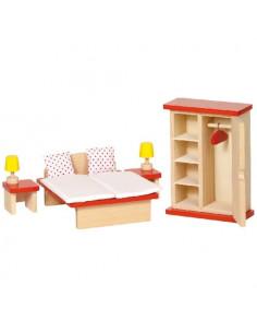Goki Houten Poppenhuismeubel slaapkamer - 11 delig