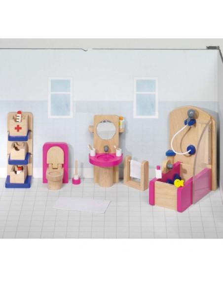 Goki Houten Poppenhuis meubel badkamer - 22 delig