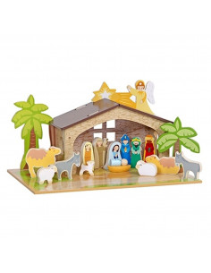 Mentari houten Kerststal met Onderplaat