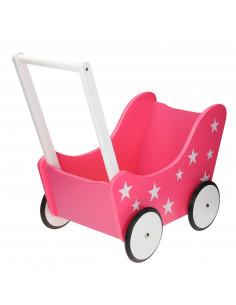 Poppenwagen Roze met Sterretjes