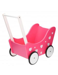 Poppenwagen Roze met Hartjes